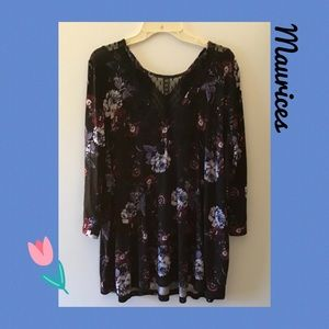 Maurice's▪️Black Floral Lace Tunic Top 1X
